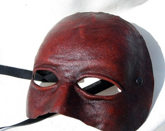 neutral mask androgynous red leather costume cosplay larp renaissance wicca pagan magic burning man fantasy commedia arte comedy theater