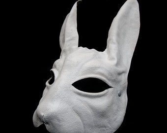 White rabbit bunny mask leather ears alice in wonderland mad hatter tea party costume cospaly larp renaissance wicca pagan magic burning man