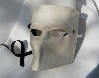 bauta venice carnival venetian casanova mask white leather costume larp renaissance wicca pagan magic burning man fantasy mardi gras