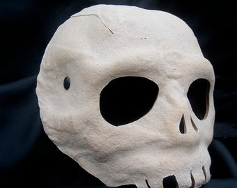 Skull mask white leather costume cosplay larp renaissance wicca pagan magic burning man fantasy halloween creepy horror