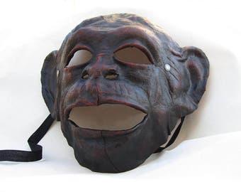 monkey ape mask brown leather dark gothic costume larp renaissance wicca pagan magic burning man fantasy gorilla chimpanzees