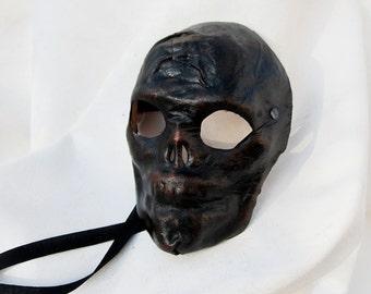 Skull mask black leather costume cosplay larp renaissance wicca pagan magic burning man fantasy halloween creepy horror
