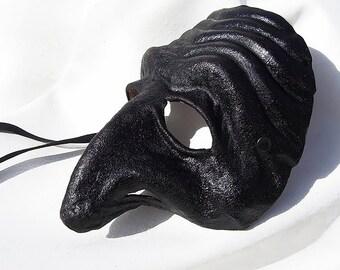 Pulcinella mask black dark leather costume larp renaissance wicca pagan burning man fantasy commedia arte comedy theater gothic big nose