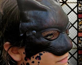 Cat mask black dark leather costume cosplay larp renaissance wicca pagan magic burning man fantasy catwoman panther