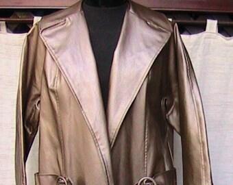 Medium Faux Leather Copper-like  Metallic Sheen Overcoat