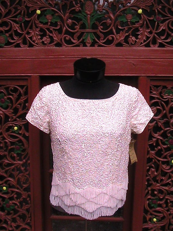 Sequined and beaded white top small