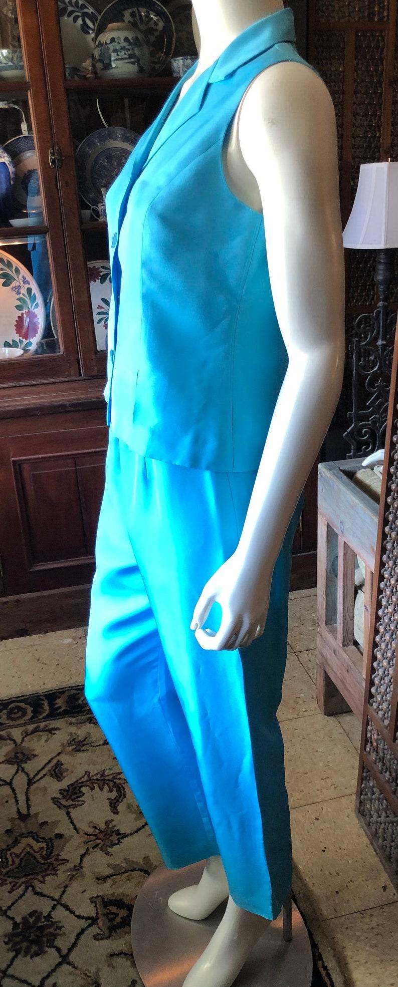 2 Pc 80s David Warren 8 P two piece silk pant set
