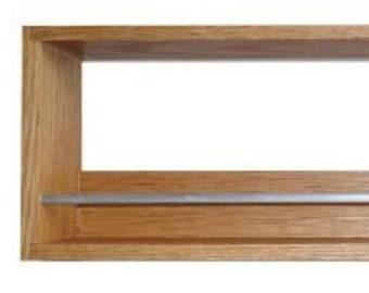 Solid Oak Spice Rack Contemporary Minimalist Style Single Shelf Freestanding or Wall Mounted Kitchen Storage