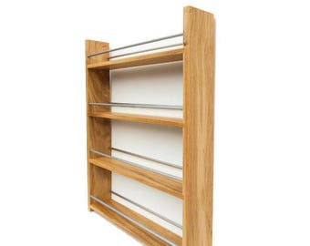 Solid English Oak Spice Rack - Deep Capacity and Open Top for Taller Jars, Bottles & Packets. 4 Shelves, Many Widths