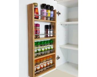 Solid Oak Spice Rack, Larder Rack for Kitchen Door or Cupboard - 24 Jars and  32 Jars Capacity, 4 Tiers