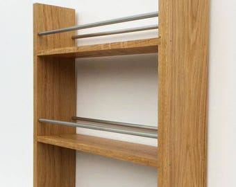 Solid English Oak Spice Rack - Deep Capacity and Open Top for Taller Jars, Bottles & Packets. 5 Shelves, Many Widths
