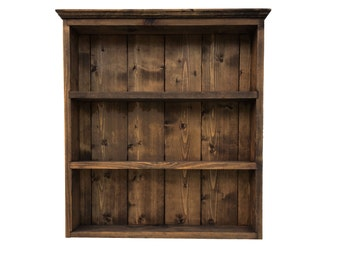 Rustic Spice Rack Traditional Style Wall Display Shelves, 50cm Tall 3 Shelves - Dark Oak Finish - Handmade in the UK