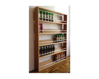 Solid Oak Spice Rack 5 Shelves Freestanding or Wall Mounted Kitchen Storage 73.5cm Height, for Schwartz style Spice and Herb Jars