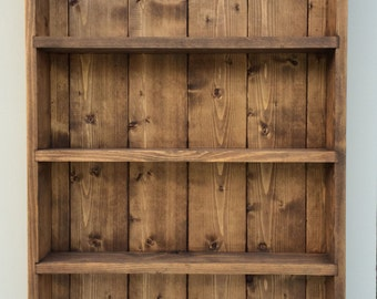 Rustic Spice Rack, Wall Display Unit, Wooden Display Cabinet, Kitchen & Bathroom Storage, 4 Shelves - Dark Oak Finish