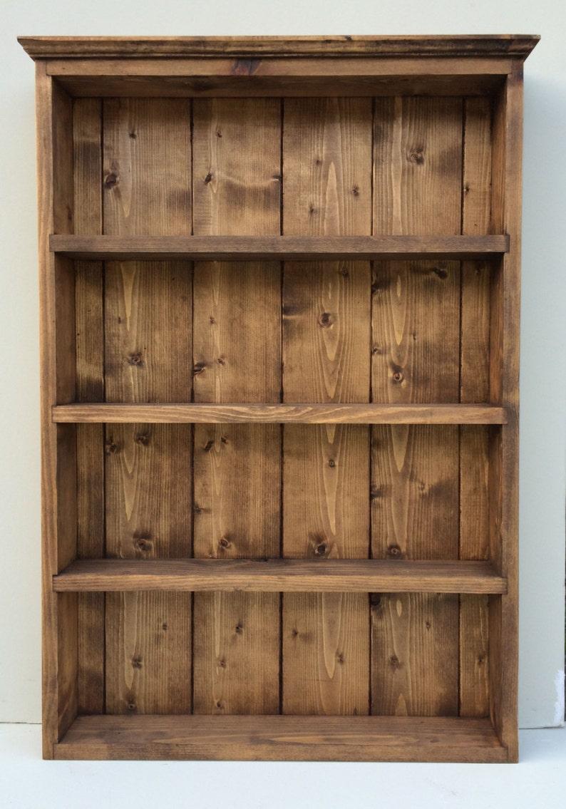 Rustico spezia Rack cucina in rovere scuro Storage Display Cabinet 4  scaffali per erbe & spezie vasi bottiglie e pacchetti.