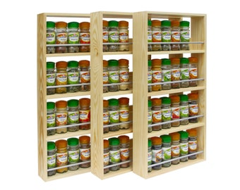 Wooden Spice Rack Contemporary Modern, 4 Shelves, Freestanding or Wall Mounted Kitchen Storage, Made from Solid Pine (59cm Tall x 7cm Deep)