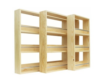 Spice Rack 3 Shelf Pine Wood Shelves Kitchen Storage Organiser for Spices and Herbs - Freestanding or Wall Mounted - 24.5cm to 56cm Wide
