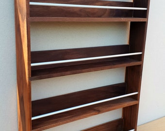 Walnut Spice Rack, Wooden Spice Rack 4 Tiers / Shelves, Freestanding or Wall Mounted, Kitchen Storage Unit, Spice Shelves Tidy Organiser