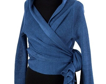 High-quality Natural 100% Linen knitted cardigan-shawl (handmade)