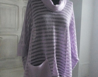Natural 100% Linen knitted poncho with pocket and neck, handmade, many colors, pocket, Size(XS,S,M,L,XL)