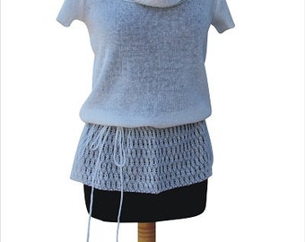 100% Linen knitted Tshirt for Women!With openwork,Blouse,Handmade Natural High-quality, Summer, Breathable, Comfortable,Top,Size S-L