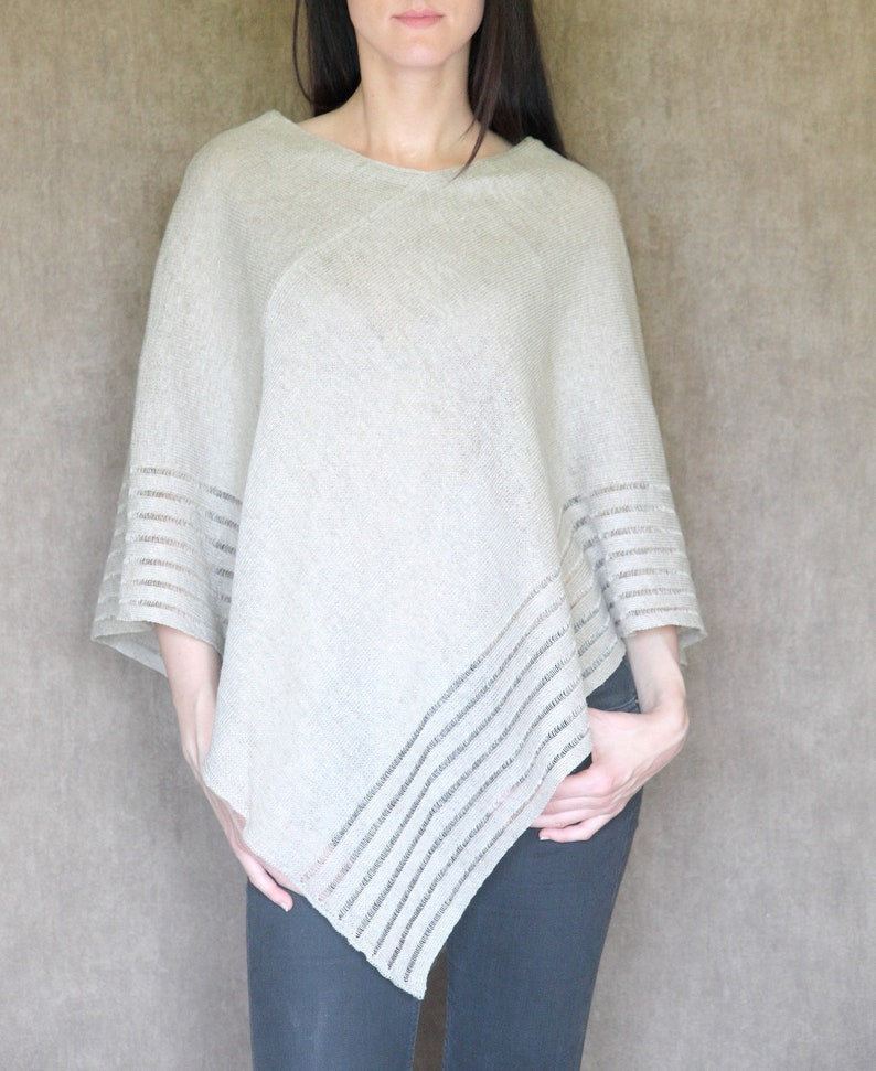 Natural lightweight Linen poncho Handmade High-quality,one size Women,pure linen docorated with openwork 100/% Linen knited poncho