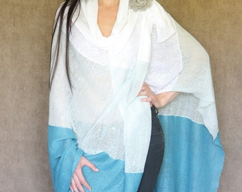 100% Linen knitted shawl-poncho,Gift idea, Many colors, Casual style, Cosy, Made to order,Stylish, Natural, Handmade, ONE SIZE