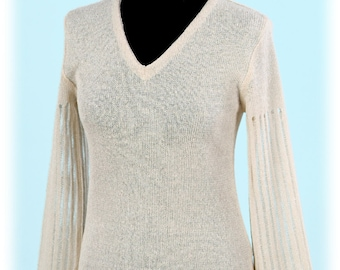 High-quality Natural 100% Linen knitted blouse with openwork sleeves (handmade)
