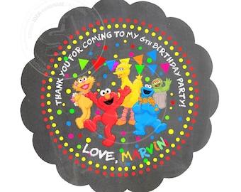"Custom Elmo Chalkboard Thank you Tags- 2.5"" Printable Elmo, Sesame Street Tags- Personalized Baby Shower, Birthday Tags- Digital file"