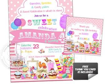 Candies Sweet Birthday Party-Custom Printable Invitation with FREE Thank you Matching Tag-DIY Digital File-Custom Birthday Invitation