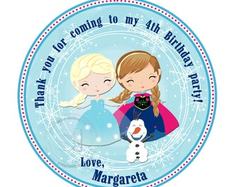 """Custom Frozen Printable Tags-Elsa-Anna-Olaf Frozen Personalized Tags, DIY (You Print) 2.5"""" Thank you Tags-Digital File(YOU PRINT)"""