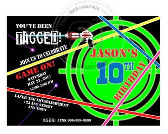 Laser Tag Party Printable Invitation- Personalized Laser Tag Birthday DIY Digital File
