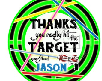 """Custom Laser Tag Thank you Printable Tags- 2.5"""" Laser Target Tags- Personalized Laser Tag Party Circle 2.5"""" Tags-Digital file-YOU PRINT"""