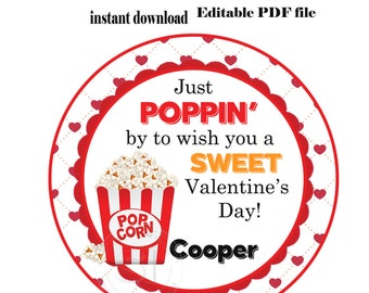2a141c10bb2e EDITABLE - INSTANT DOWNLOAD-Printable Personalized Valentine s day Tag-2.5  in- Stickers- Printable Favor Tag