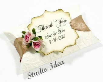 Elegant Favor Pillow Box with Personalized Thank you distressed Tag & shabby chic Roses-Vineyard Embossed Pillow Boxes-CHOOSE YOUR COLORS