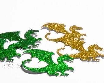 "Gold & Green Glitter 2.25"" Dragon  Cut-outs, Embellishments - Large Dragon Scrapbooking Cutouts or Choose Your Colors-Set of 12pcs, 25pcs"