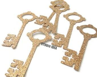 "Champagne Gold Glitter Vintage Key 2.5"" Cut-outs, Embellishments - or Choose Your Colors-Set of 40pcs, 80pcs"