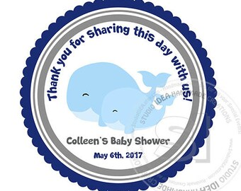 """Custom Printable Whale Baby Shower 2.5"""" Tags-Thank you Printable Scallop Tags- Personalized Tags, DIY (You Print) 2.5"""" tags-Digital file"""