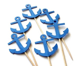 24 Blue Anchor Cupcake Toppers, Food Picks or CHOOSE YOUR COLORS - Set of 24 pcs