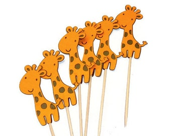 Orange - Brown Baby Giraffe Food Picks, Cupcake Toppers - or Choose Your Colors