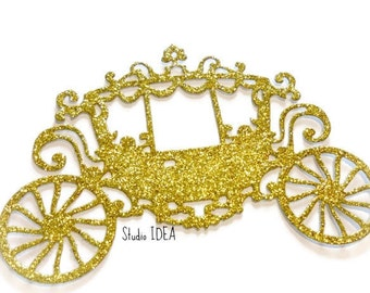 Gold Glitter large Princess Carriage Cut-outs, Embellishments - or Choose Your Colors