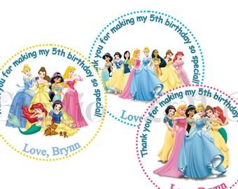 "Custom Princesses Printable Tags-Personalized Tags, DIY (You Print) 2"" Thank you Tags-Digital File"