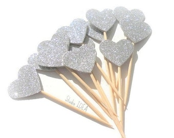 Glitter Silver  double-sided Heart 1in Cupcake Toppers, Food Picks