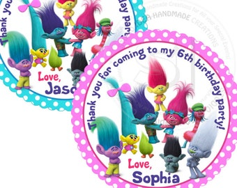 """Custom Trolls Printable 2.5"""" Tags-Personalized Birthday 2.5 inches Tags- Stickers- DIY Trolls Party Favor Tags"""