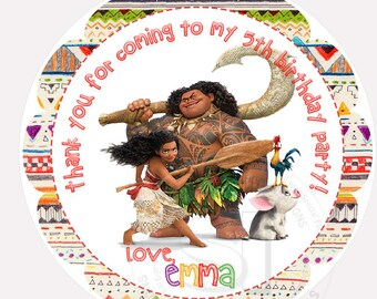"""Custom Printable Moana 2.5"""" Tags-Personalized Birthday 2.5 inches Tags- Stickers- D.I.Y MOANA  Party Favor Tags"""