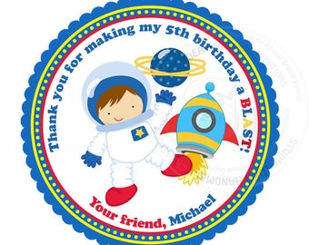 """Custom Astronaut Birthday Printable 2.5"""" Tags-Astronaut Space D.I.Y Thank you Tags- Personalized Stickers (You Print) 2.5"""" tags-Digital file"""