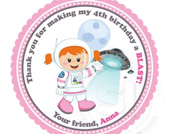 """Custom Astronaut Girl Birthday Printable 2.5"""" Tags-Astronaut Space D.I.Y Tags- Personalized Stickers (You Print) 2.5"""" tags-Digital file"""