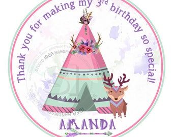 "Custom Printable Teepee Birthday Thank you Tags- Personalized Teepee Thank you 2.5"" Tag- DIY Stickers-tags-Digital File"
