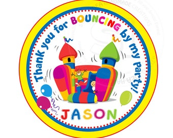 """Custom Colorful Bounce Castle Birthday Printable 2.5"""" Tags-Thank you Tags- Personalized Tags, DIY (You Print) 2.5"""" tags-Digital file"""