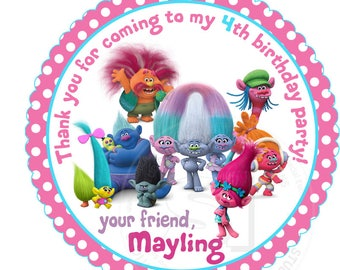 "Custom Stickers- Trolls Birthday 2.5"" STICKERS-Pink Polka dots Trolls Thank you 2.5"" Stickers- Personalized Trolls Stickers 2.5 inches"
